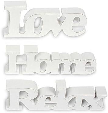 contenitori lettere Stampa su decorazione Wei/ß Set di 3 scritta in legno Love Home Relax shabby