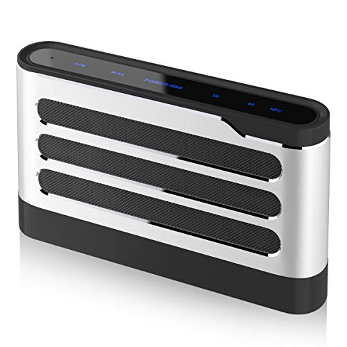POWERADD Soundfly Bluetooth Speaker 40W Loud Volume Rich Bass Portable Sensitive Touch Control Wireless Speaker with Digital Sound Field Processing(DSP) Surround Stereo Sound for Indoor/Outdoor-Silver