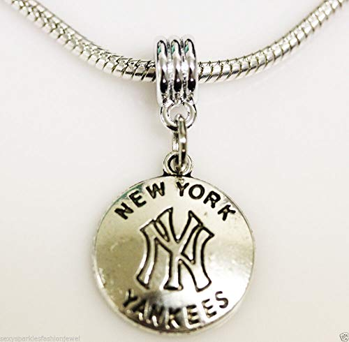 NY Yankees New York Charm Dangle for Snake Chain Charm Bead Jewelry Making Supply Pendant Bracelet DIY Crafting by Easy to be happy!