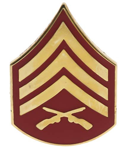 US Marines USMC E-5 Sergeant Gold & Red Tone Hat or Lapel Pin ()
