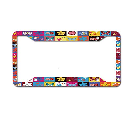 (Butterflies Beetles Flowers Bees Bugs Hearth Spring Lovely Car License Plate Frame Tag Holder 4 Hole, Custom License Plate Frame for Women)