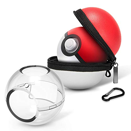 HEYSTOP (Upgraded Version) Portable Carrying Case for Nintendo Switch Poke Ball Plus Controller, Accessory Bag for Pokémon: Lets Go Pikachu Eevee Game for Nintendo Switch(Carrying Case+Clear case