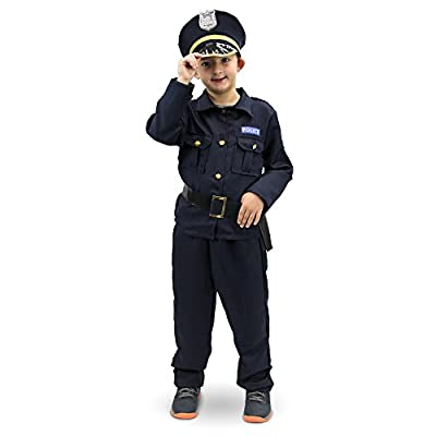 Plucky Police Officer Childrens Halloween Costume Dress Up (Youth L) Black: Clothing