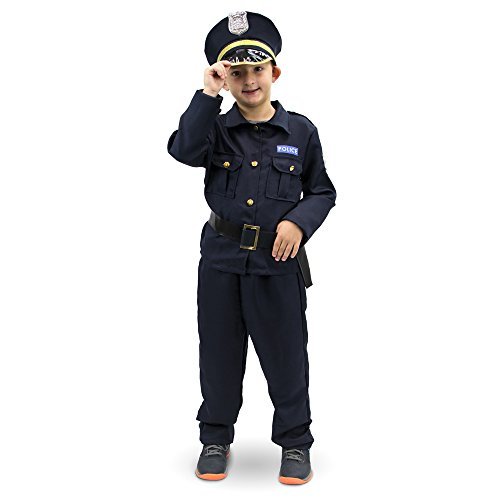 Plucky Police Officer Children's Halloween Dress Up Theme Party Roleplay & Cosplay Costume, Unisex (S, M, L, XL) by Boo! Inc. (Youth Large (7-9))