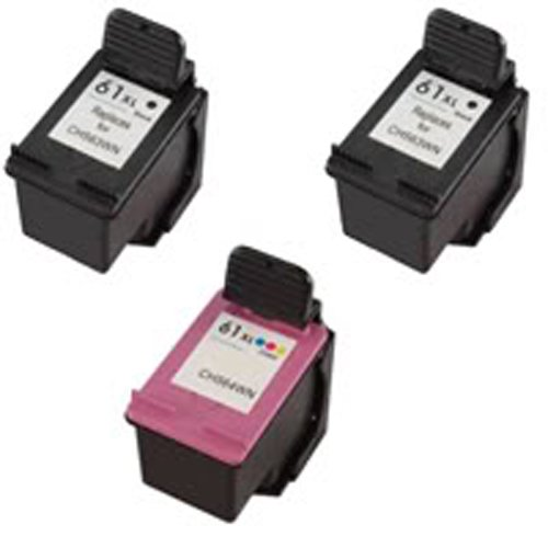 Amsahr 61XLBK(CH563WN) Remanufactured Replacement HP Ink Cartridges for Select Printers/Faxes with 2 Black and 1 Color Ink Cartridges