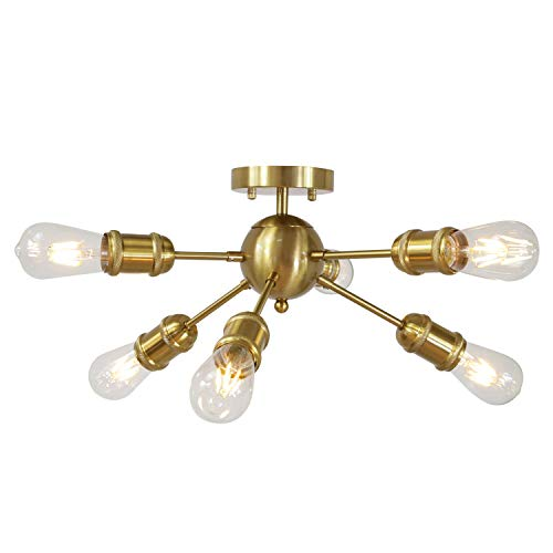 MELUCEE Brass Sputnik ChaMELUCEE Brass Mid Century Modern Chandelier Sputnik ndelier Pendant 6-Light Industrial Ceiling Light Flush Mount with Spiral Holder for Dining Room Kitchen Living Room Hallway