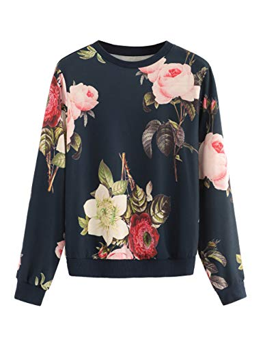 Romwe Women's Casual Floral Print Long Sleeve Pullover Tops (Medium, Navy) ()