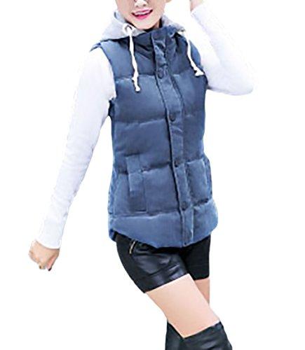 Lindo Calentar Acolchadas Dulce Abrigos Chaquetas Desmontable Azul Algodon Mujer Outerwear Casual Acolchado Gorro Chaquetas Invierno Con Chalecos Niñas Outdoor Chalecos Capucha zOnSwwaqAv