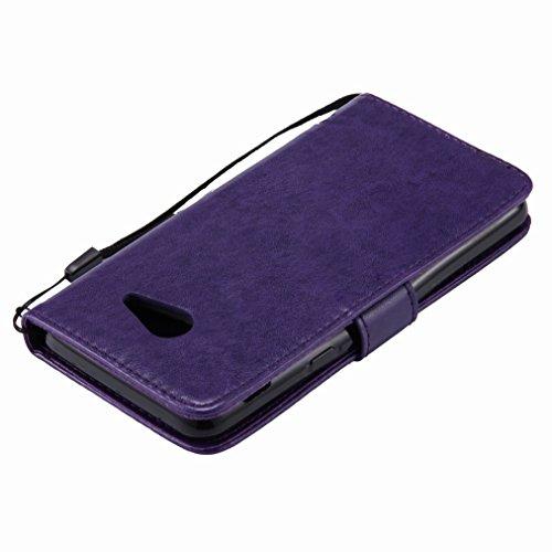 Yiizy Samsung Galaxy J5 (2017) Custodia Cover, Alberi Disegno Design Sottile Flip Portafoglio PU Pelle Cuoio Copertura Shell Case Slot Schede Cavalletto Stile Libro Bumper Protettivo Borsa (Porpora)