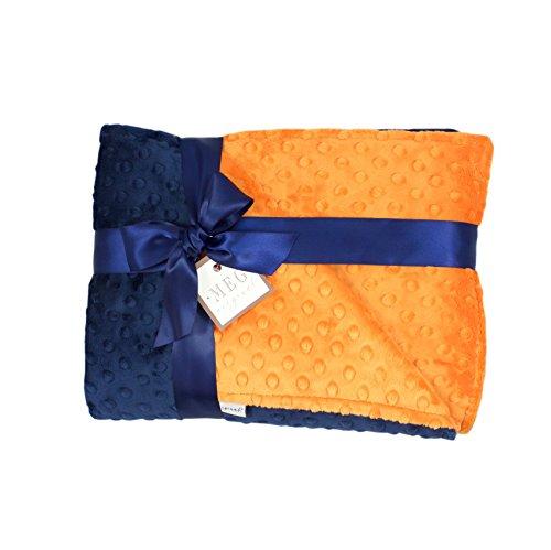 (MEG Original Navy Blue & Orange Minky Dot Baby Boy/Toddler Crib Blanket 6788 )