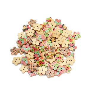 100pcs Wooden Flower Buttons Two Holes Scrapbooking Craft Making Sewing DIY New