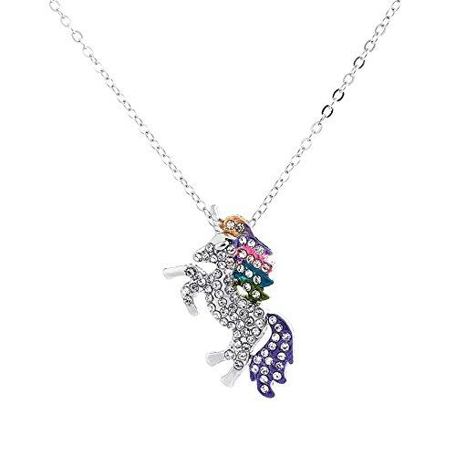 Animal Rhinestone Necklace (Gudukt Unicorn Necklace Multi Color Rhinestone Crystal Animal Necklace For Women Sliver)