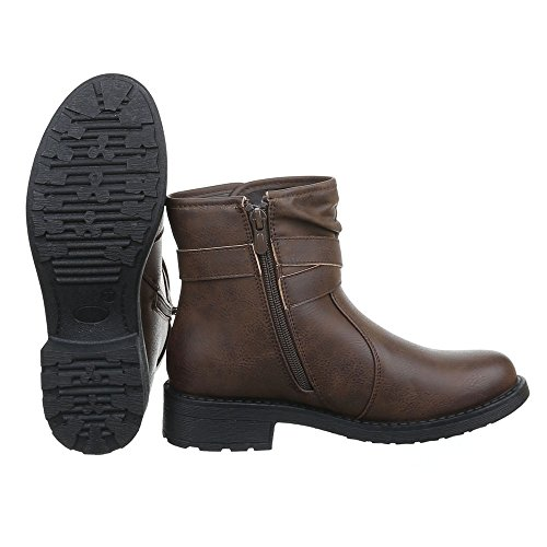Ital-Design Damen Schuhe Schnallen DEKO Schlupfstiefel Reißverschluss Komfort Stiefeletten Stiefeletten Blockabsatz Braun