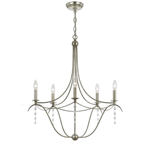 Crystorama 435-SA Traditional Five Light Chandelier from Metro collection in Pwt, Nckl, B/S, Slvr.finish,