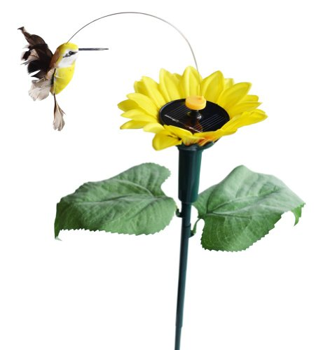 Solar Hummingbird Garden (Solar Wholesale 7008 Fluttering Hummingbird w./ Sunflower Solar Garden Yard)