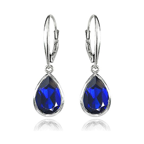 (Sterling Silver Simulated Tanzanite Teardrop Dainty Leverback Dangle Earrings)