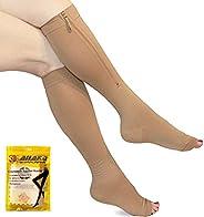 Ailaka Zipper 20-30 mmHg Compression Socks for Women & Men, Knee High Open