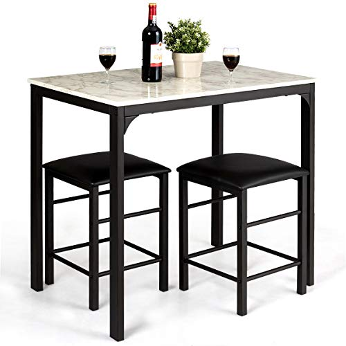 Giantex 3 Pcs Dining Table and Chairs Set with Faux Marble Tabletop 2 Chairs Contemporary Dining Table Set for Home or Hotel Dining Room, Kitchen or Bar (White & Black) ()