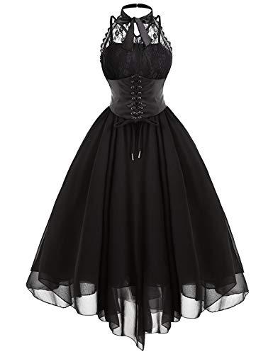 Tecrio Women Western Gothic Masquerade Custome Halter Sleeveless Corset Dress XL -