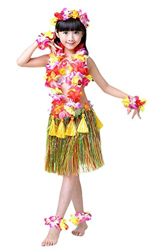 Fighting to Achieve Girls Hawaiian Hula Set with Tassels 8pcs