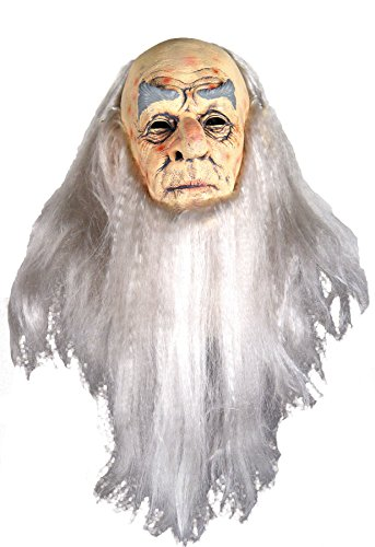 Wise Old Man Costume (UHC Men's Old Wrinkled & Wise Wizard Deluxe Party Latex Halloween Mask)