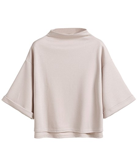 SweatyRocks Women's 3/4 Sleeve Mock Neck Basic Loose T-Shirt Elegant Blouse Top (Small, Apricot_long sleeve) ()