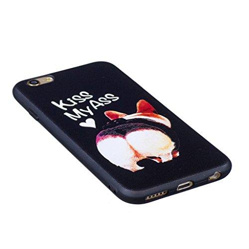 Trumpshop Smartphone Carcasa Funda Protección para Apple iPhone 5/5s/SE + Mariposa Azul + Serie Talla Ultra Suave Flexibles TPU Silicona Resistente a arañazos Caja Protectora Perro linda