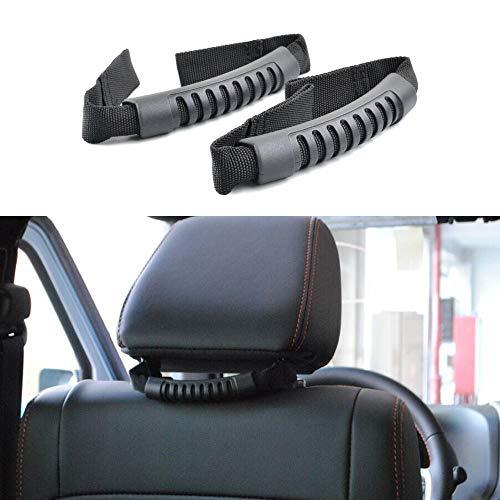 (Jeep Wrangler Headrest Grab Handles Rear Seat Passenger Grip Handles for 2007-2019 Jeep Wrangler JK JKU JL JLU (Pack of)