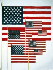 Cotton Hand-Held/Stick US Flags 4 in. x 6 in.