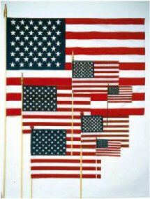 Rayon Hand-Held/Stick US Flags 4 in. x 6 (Rayon Mounted Stick Flag)