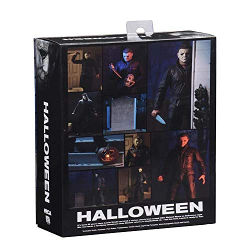 PLAYER-C Pumpkin with Led Light Original Halloween Ultimate Michael Myers PVC Action Figure Toy Doll for Kids -