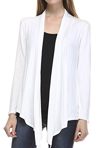 Full Drape - Elain & J Full Drape Long Sleeve Open Front Knit Cardigan Made In USA Large Soft White