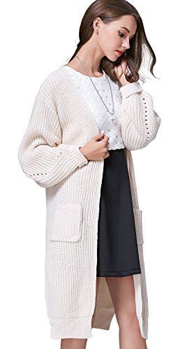 Chouyatou Women's Casual Long Sleeve Open Front Pockets Chunky Knitted Cardigan Coats (Medium, Beige)