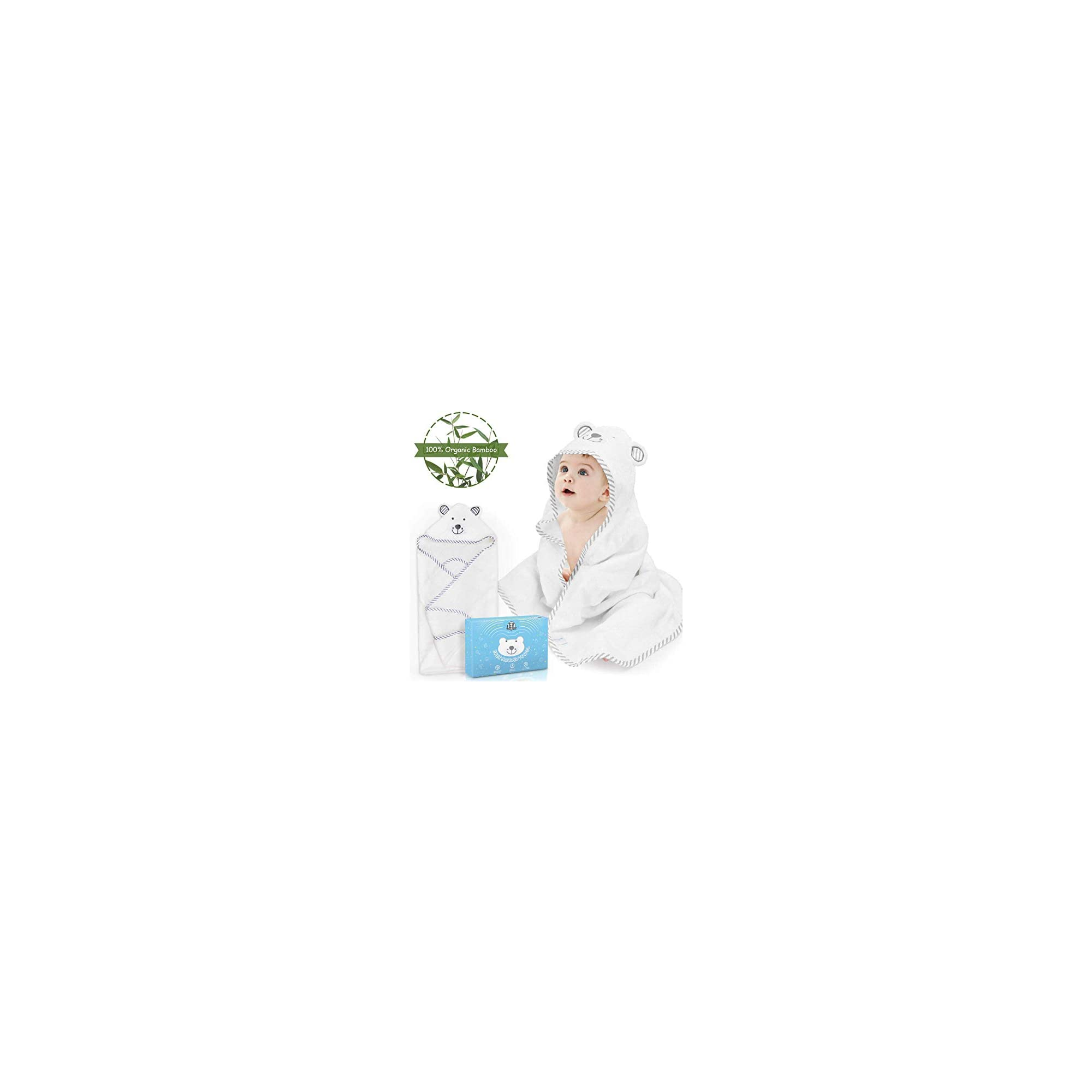 ROYI Baby Hooded Towels, Ultra Soft Organic Bamboo Baby Bath Towel with Cute Bear Ears, Super Absorbent Hooded Bath Towel