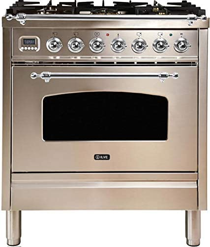 Natural Gas 3 cu.ft Ilve UPN76DMPI Nostalgie Series 30 Inch Dual Fuel Convection Freestanding Range Total Oven Capacity in Stainless Steel 5 Sealed Brass Burners Brass Trim