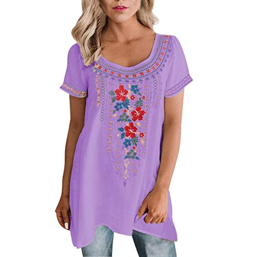 - Eoeth Fashion Simple T-Shirt for Womens Casual Printing Short Sleeve Tops Loose Lightweight Breathable Cozy Tunic Blouse Purple