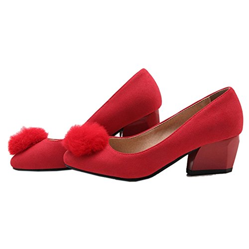with Heel Red Cute Size and Shoes Low Chunky Onewus with Large Pumps Available Ball Suede AxwqCnRg5U