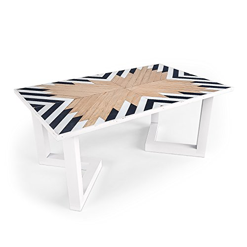 Cheap Zulu modern coffee table. Native inspired pattern. Made in Austin TX (Natural)