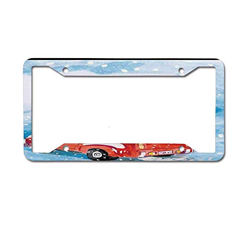 Customized Personalized Luxury Premium Christmas Red Truck Snowy Winter Tree Gifts Candy Cane Kids Decorative Car License Plate Cover Frame Shields,Standard Non Anti-Theft Model(6