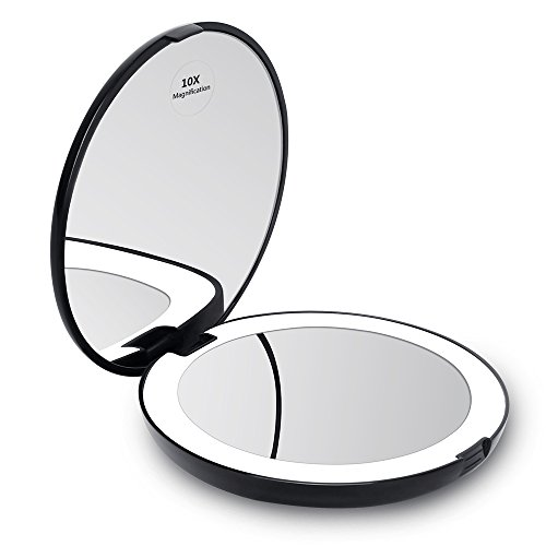 "KEDSUM LED Lighted Compact Travel Mirror, 1x/10x Magnification Lighted Makeup Mirror, Hand Held Folding Magnifying Mirror with Lights, Large 5""Wide Illuminated Portable (Magnification Travel Mirror)"