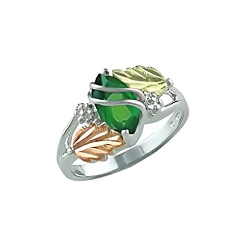 Created Soude Emerald Marquise May Birthstone Ring, Sterling Silver, 12k Green and Rose Gold Black Hills Gold Motif, Size 9