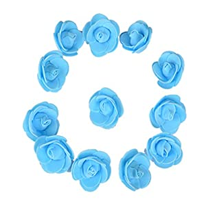SODIAL 500Pcs/Lot These Flowers are Used to Decorate Flores Man-Made Decorative Roses Head Rose Bear Wedding House Artificial Flower Sky Blue 41
