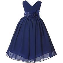 ekidsbridal Wedding V-Neck Yoryu Chiffon Flower Girl Dress Bridesmaid Toddler Pageants Occasions Summer Easter 503NF