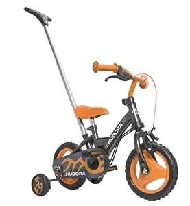 Hudora 10213 RS-1 - Bicicleta infantil con mango y ruedas auxiliares (ruedas EVA 25,4 cm), color negro y naranja