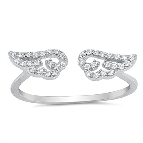 White CZ Open Adjustable Angel Wings Ring .925 Sterling Silver Band Size ()