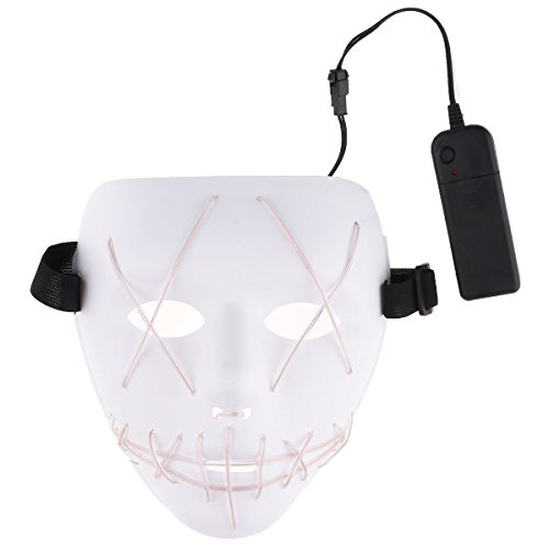 YiZYiF Scary Halloween Mask Masquerades Carnival Rave Festival Party Cosplay Costume EL Wire Light Up LED Glow Mask White One Size