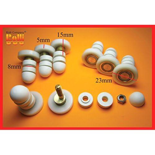 8 Roulettes rouleau roue roulette galet de la porte de cabine de douche HS010-23mm 30%OFF