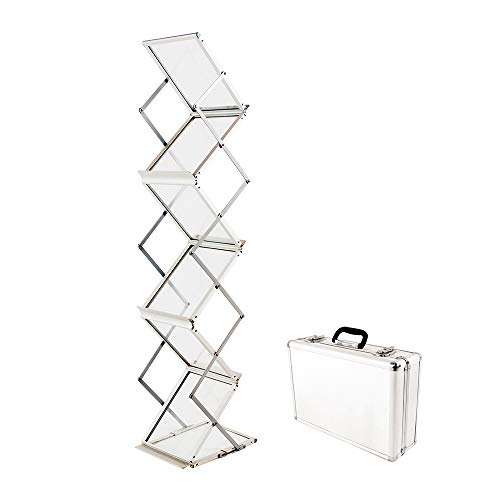 Literature Rack - Sign Talk Zigzag Pocket Magazine Brochure Literature Catalog Holder Rack Stand Trade show Display w/Aluminium Case(6 Pockets)