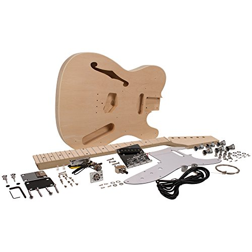 Seismic Audio – SADIYG-06 – DIY Tele Style Semi-Hollow Electric Guitar Kit – Unfinished Luthier Project Kit