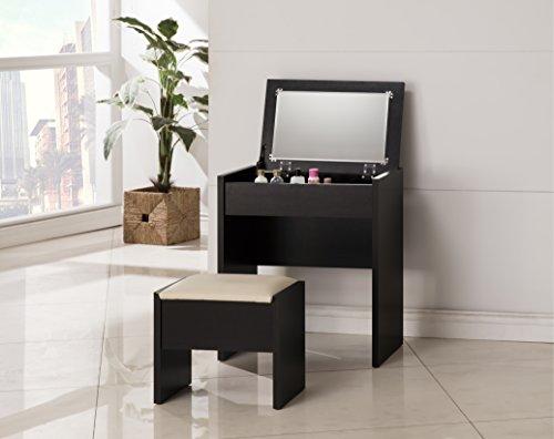 3-Piece Make-Up Heart Mirror Vanity Dresser Table Desk and Beige Stool Set, Cappuccino